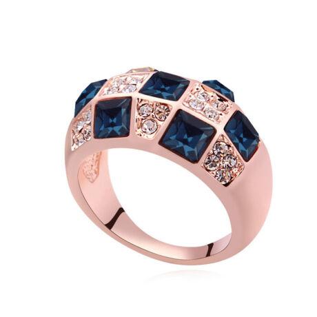 Mozaik- Swarovski kristályos gyűrű-kék