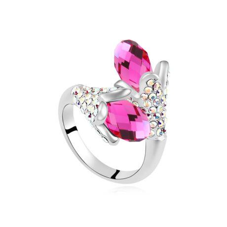 Liliom.- viola- Swarovski kristályos-gyűrű - rózsaszín