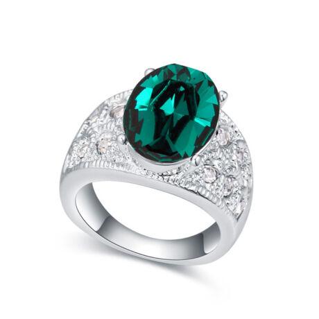 Margo- smaragdzöld- Swarovski kristályos - Gyűrű