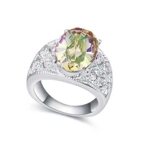 Margo- borostyán- Swarovski kristályos - Gyűrű