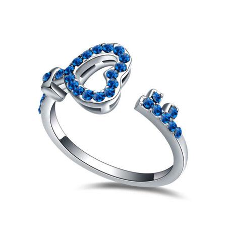 Kulcs a szívedhez- kék- Swarovski kristályos - Gyűrű