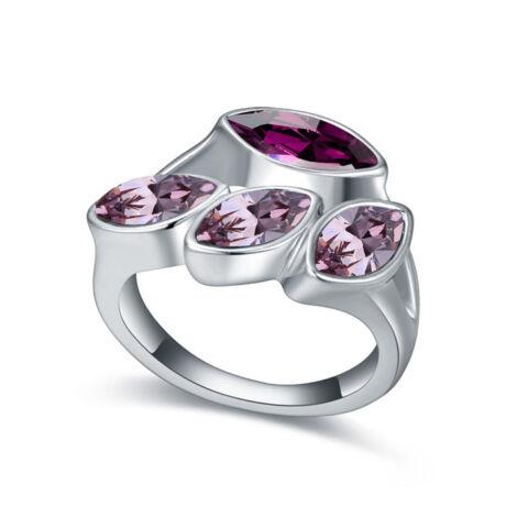 Izolda-bordó-Swarovski kristályos - Gyűrű