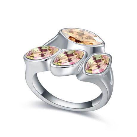Izolda-borostyán-Swarovski kristályos - Gyűrű