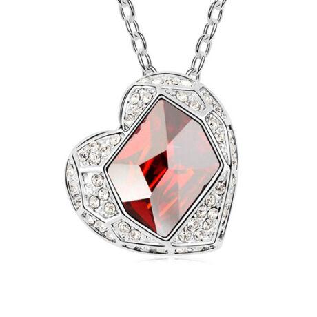 Coeur- piros- Swarovski kristályos nyaklánc