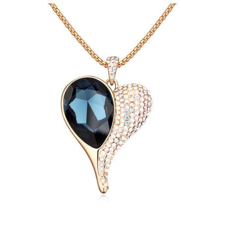Csak egy szív...  - arany-kék- Swarovski kristályos nyaklánc