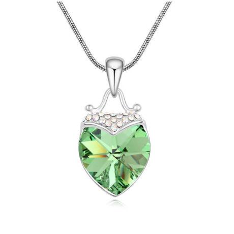 Mámor- halványzöld- Swarovski kristályos nyaklánc