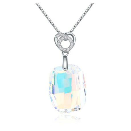 Stone- Swarovski kristályos ezüst nyaklánc - fehér