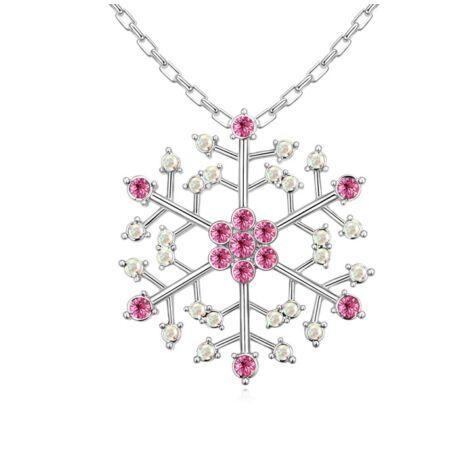 Hópehely-rózsaszín- Swarovski kristályos nyaklánc