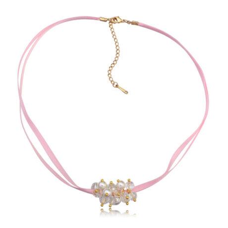 Bogyós, rózsaszín szalagos nyakék- Swarovski kristályos - fehér