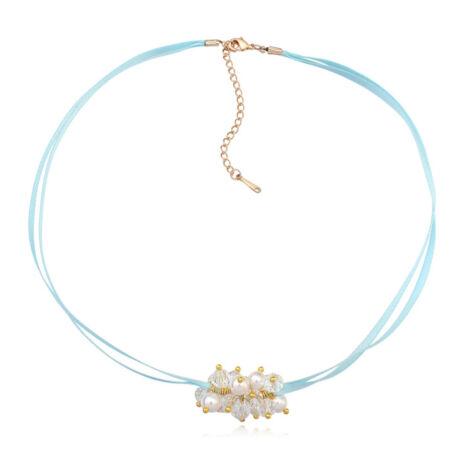 Bogyós, kék szalagos nyakék- Swarovski kristályos - fehér