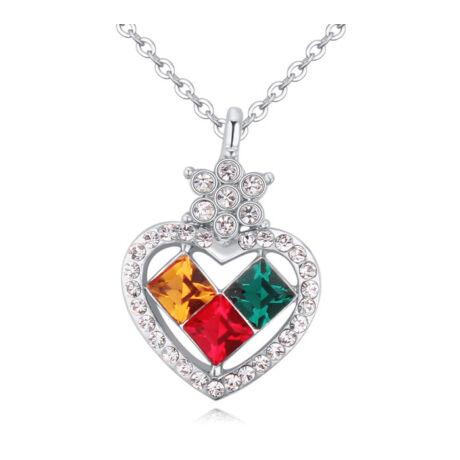 Heart to heart - színes- Swarovski kristályos - Nyaklánc