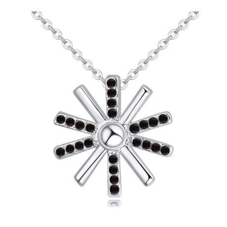 Kereszt a keresztben - fekete-  Swarovski kristályos - Nyaklánc