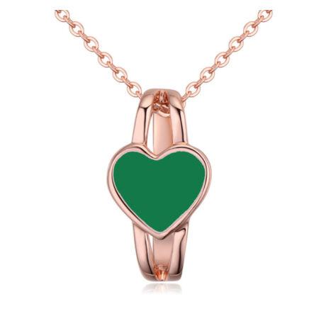Szívgyűrű- zöld- Swarovski kristályos - nyaklánc