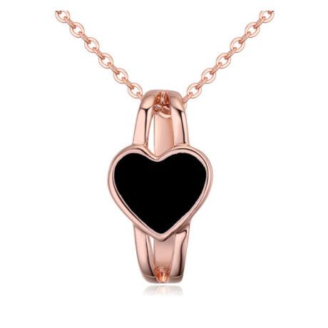Szívgyűrű- fekete- Swarovski kristályos - nyaklánc