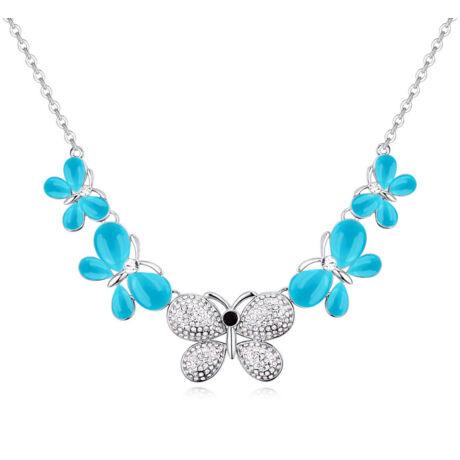 Örökmozgó lepkék- kék- Swarovski kristályos- nyakék - fehér
