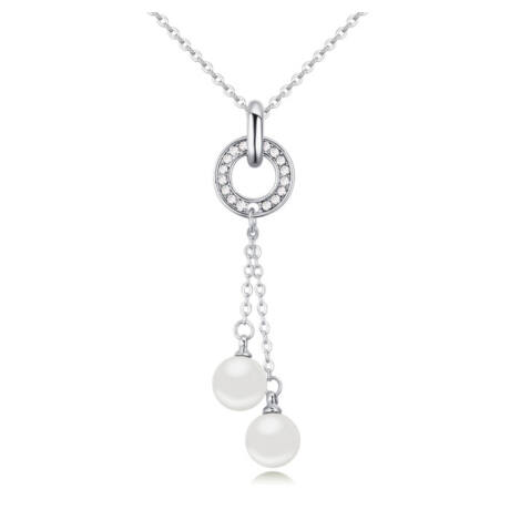 Balls and ring  - fehér- Swarovski kristályos nyaklánc