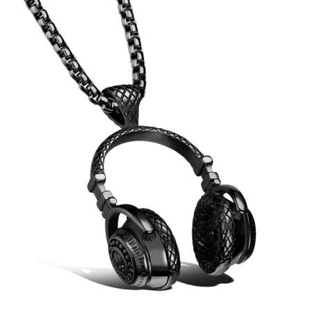Fülhallgató - acél nyaklánc - fekete