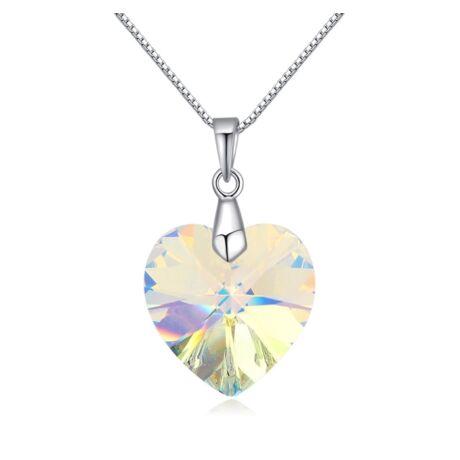 Corazón- Swarovski kristályos ezüst nyaklánc-színjátszó fehér