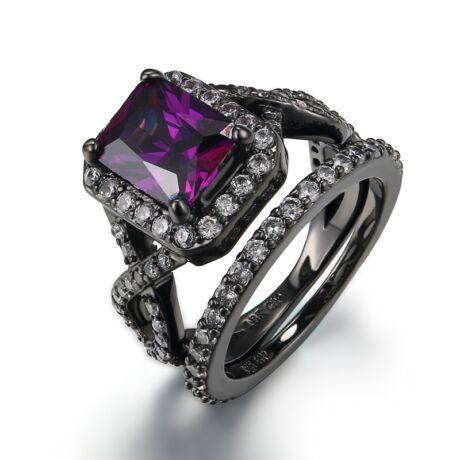 Calyvorra - cirkóniaköves divatgyűrű - lila