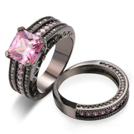 Feena - cirkóniaköves DUPLA divatgyűrű - rózsaszín