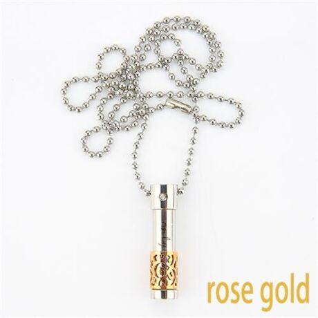 Parfümtartó - nemesacél nyaklánc - kicsi, rózsa arany