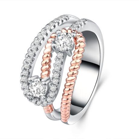 Egybefonódva -  cirkóniaköves divatgyűrű - fehér