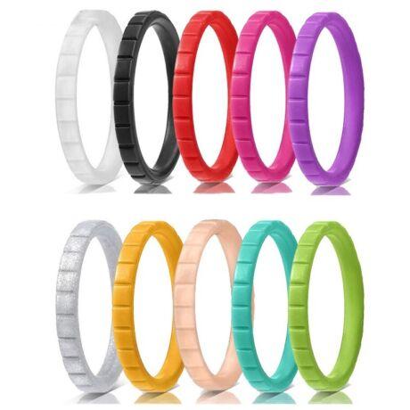 Csíkos - trendi szilikongyűrű - 10 db-os szettben - 3mm