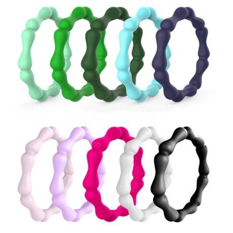 Természetes - trendi szilikongyűrű - 10 db-os szettben - 3mm