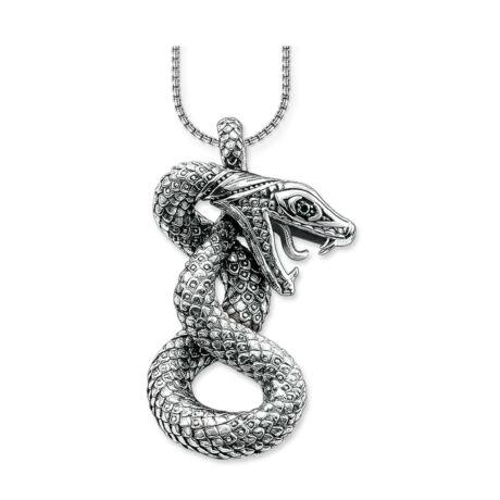 Snake- ezüstözött medál 600 mm láncon