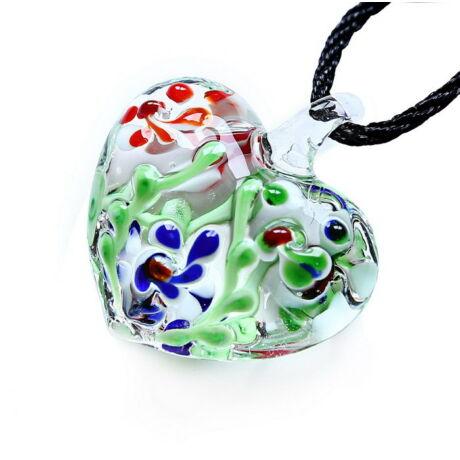 Muránói üveg medál, szív alakú, virágokkal - piros-kék