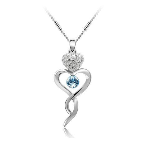 Kanyargó szív - Swarovski kristályos nyaklánc - világoskék