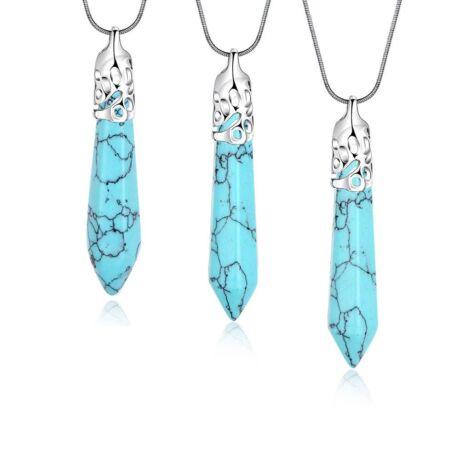 Cirádás ásvány nyaklánc - agate - kék