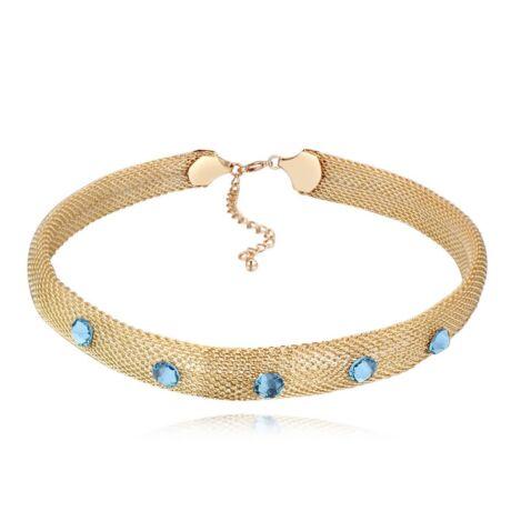Smesh 2. - arany- kék- Swarovski kristályos nyaklánc