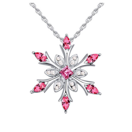 Ice flower - Swarovski kristályos nyaklánc - rózsaszín