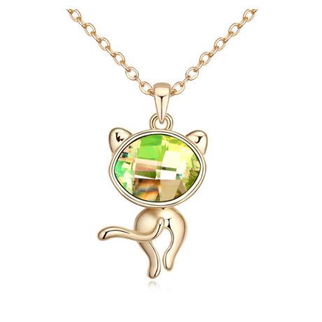 Színjátszó cica - Swarovski kristályos nyaklánc - színjátszó zöld