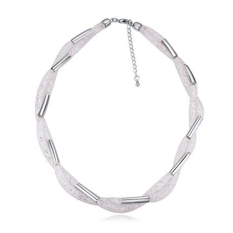 Csavart kristályos nyaklánc- Swarovski kristályos- ezüst - fehér