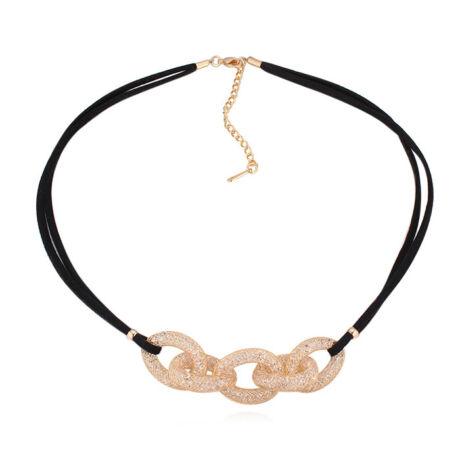 Infinito mesh nyaklánc- kristályos- arany