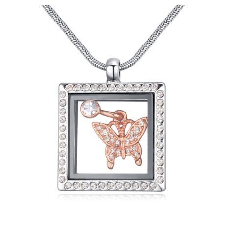 Kalitkában zártalak -Swarovski kristályos kinyitható medálos nyakék-pillangóval - fehér