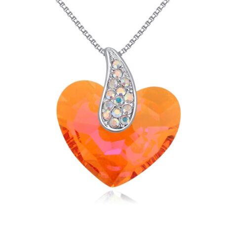 Corazón- Swarovski kristályos nyaklánc-narancs