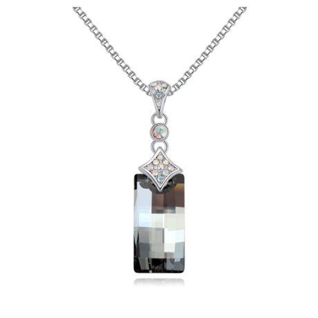 Brilliant Riddle  - Swarovski kristályos nyaklánc - ezüstszürke
