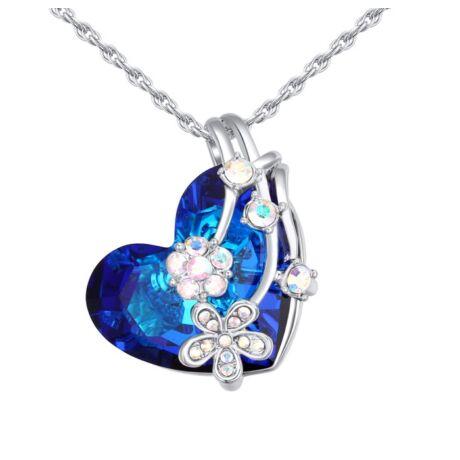 Flower heart- kék- Swarovski kristályos nyaklánc