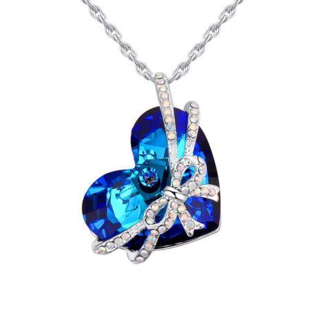 Szívem ajándékban- kék- Swarovski kristályos nyaklánc