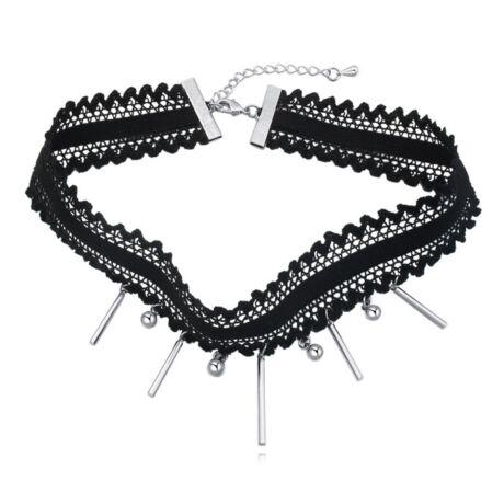 Gótikus csipkés nyaklánc-Metál Lady