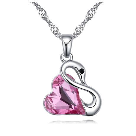 Hattyúdal - Swarovski kristályos nyaklánc - rózsaszín