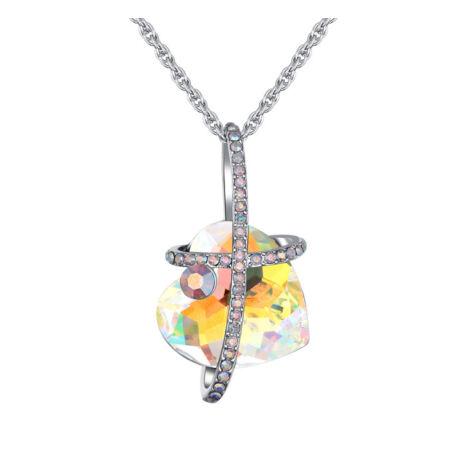 Quiet heart - Swarovski kristályos nyaklánc - színjátszó fehér