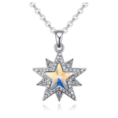 Csillaghullás  - Swarovski kristályos nyaklánc - színjátszós fehér