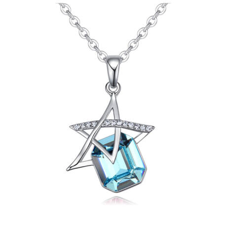 Vibrant star  - Swarovski kristályos nyaklánc - világoskék