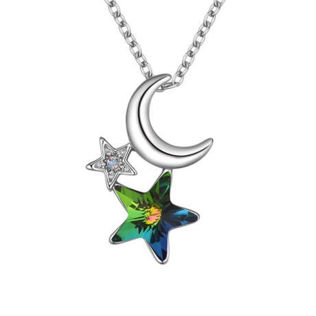 Csillag és Hold - Swarovski kristályos nyaklánc - színjátszós zöld