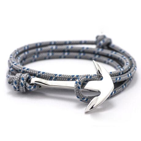 Anchorissime - Anchor horgony karkötő - ezüst- kék-fehér mintás szürke kötél
