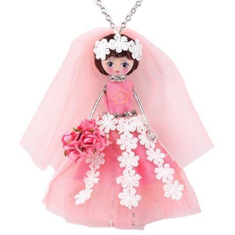 Menyasszony rózsával - nyaklánc - rózsaszín - BABA kollekció
